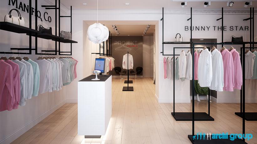 Bardzo dobra Projekt, aranżacja wnętrz sklepu z odzieżą damską - PROJEKT POLSKA JP03