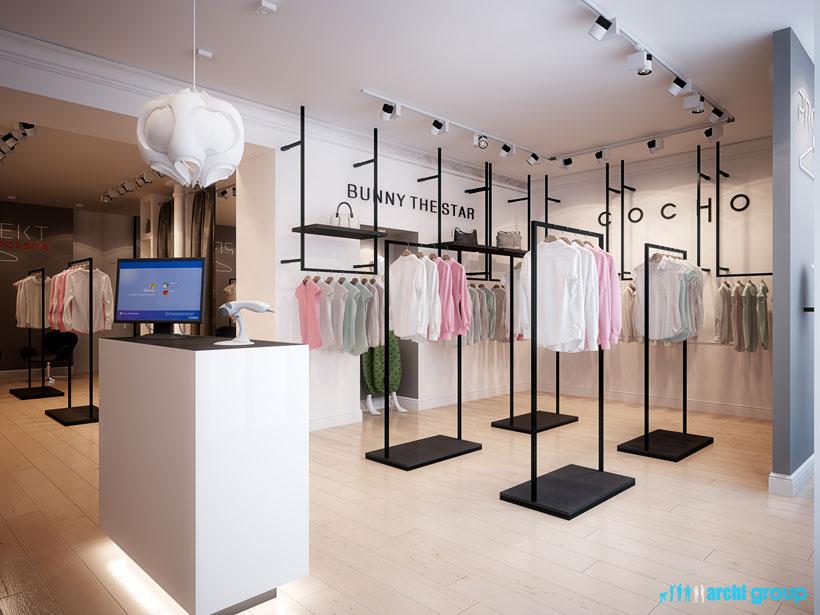Bardzo dobra Projekt, aranżacja wnętrz sklepu z odzieżą damską - PROJEKT POLSKA XU45