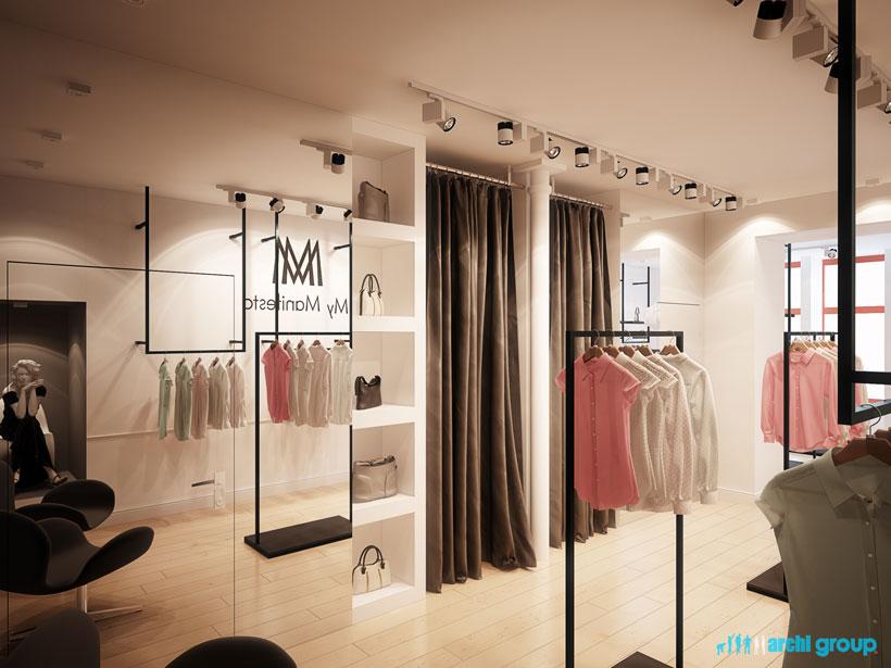Góra Projekt, aranżacja wnętrz sklepu z odzieżą damską - PROJEKT POLSKA RQ53